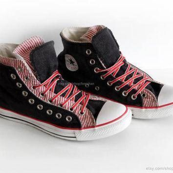 DCCK1IN dark denim and candy stripe converse high tops converse all star vintage slip ons r