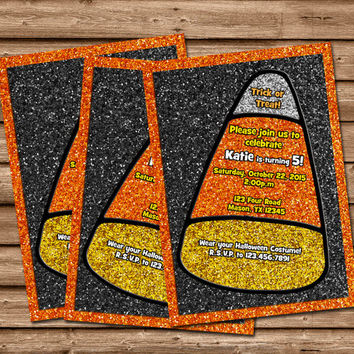Halloween Birthday Invitation - Fall Party - Candy Corn Invitations - Glitter - Kids October Birthday - Cute Halloween Invitation