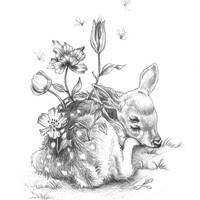 Floral Fawn art print - limited edition
