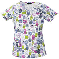 Cherokee Owl Be Seeing You Round Neck Scrub Top - Veterinary Prints - Marcus Uniforms