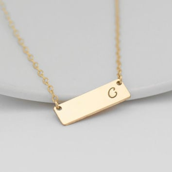Gold Bar Initial Necklace, Silver Initial Necklace, Personalize Bar Nameplate, Rectangle Bar, Mother Necklace, Monogram Initial, Mom Jewelry