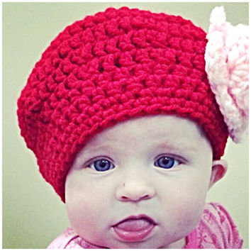 Beret' beanie with a rose (solid colors) - made to order - any size