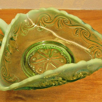 vintage green vaseline glass white ruffled top nut or candy dish