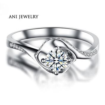 ANI 18K White Gold (AU750) Engagement Rings 0.4 CT Certified I/SI Round Diamond Magnificent Wedding Ring Twisted Design Bijoux