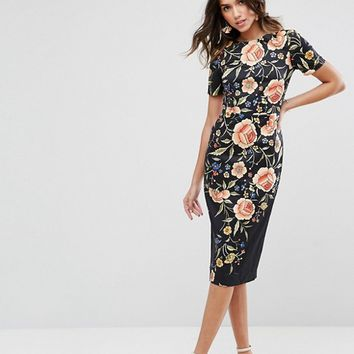 ASOS Wiggle Dress in Floral Embroidery Print at asos.com