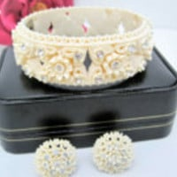 White Rose Bracelet Earrings, Celluloid Clamper, Rhinestone Covered, Wide Hinged Bangle and Earrings