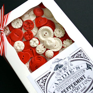 Ready to ship! Peppermint Red and White Candy Buttons 50 ...a handmade candy / Valentine Day Candy
