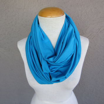 Large Aqua Blue Infinity Scarf - Bright Teal Circle Scarf - Bright Blue Jersey Scarf - Oversized Scarf