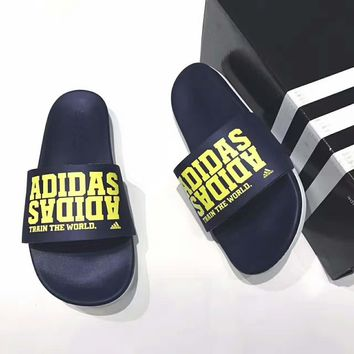Adidas stripes W Casual Fashion Women Man Sandal Slipper Shoes black yellow letters H