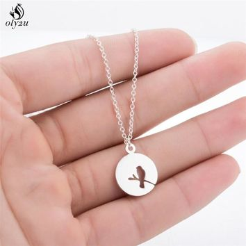 Oly2u Cute Hollow Bird On A Branch Necklace Round Shape Pendant  Lovely Animal Anime neckalces for Girls Fashion Jewelry XL362
