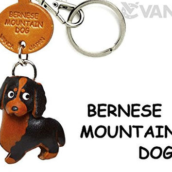 Bernese Mountain Dog Leather Dog Small Keychain VANCA CRAFT-Collectible keyring Made in Japan