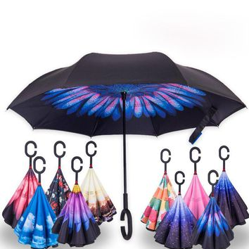 Paraguas Guarda Chuva Invertido Inverted Reverse Car Stand Windproof Rain Upside Down Umbrella Woman C Handle