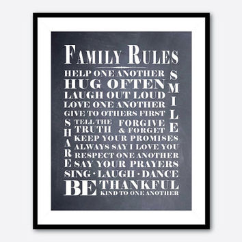 Family Wall Art Family Rules - Room Decor - Subway Art - Playroom Art - Typography - 8 x 10 print - black and white, chalkboard, vintage
