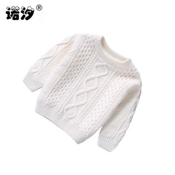 Baby Clothes O-Neck Warm baby boys Pullovers plush inside sweater girls Winter Autumn Knitted Loose Tops 1-3 Y new born clothes