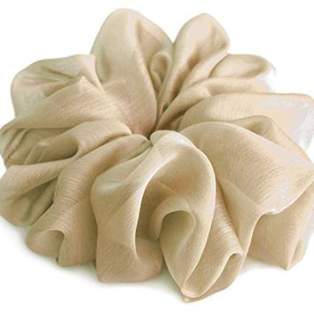 Cream Tan Large Chiffon Scrunchies Stylish Accessories Hair Band Ponytail Holder Teen Girls Women
