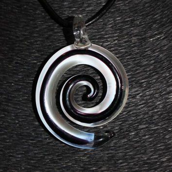 Murano Glass (Black and White) Spiral Pendant Necklace