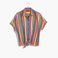 Short-Sleeve Tie-Front Shirt in Rainbow Stripe : shopmadewell button-up & popover shirts | Madewell