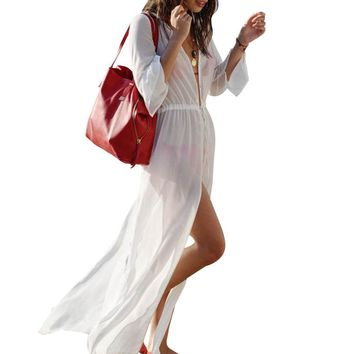 Women Sexy  Loose Long Slit Beach Bikini Cover-up Swimwear Swimsuit Dress   B2C Shop