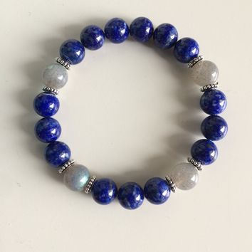 Healing Anxiety ~ Genuine Labradorite & Lapis Lazuli Bracelet w/ Sterling Silver Accents