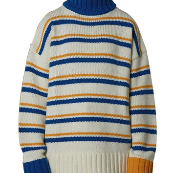 Women's High Neck Stripe Knitted Pullover Sweater Jumper
