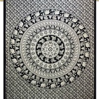 Cotton Bohemian Tapestry Mandala Dorm Room Hippie Full Size 92X82 Indian Gift