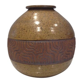 Pre-owned Vintage Mid-Century Signed Studio Pottery Vase