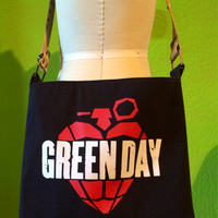 Green Day Purse Upcycled T-shirt Shoulder Bag