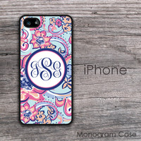 Art floral monogrammed iPhone hard cover