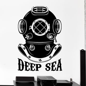 Wall Vinyl Decal Diving Helmet Deep Sea Ocean Sea Home Interior Decor Unique Gift z4260