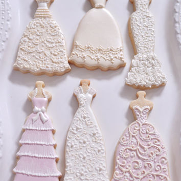 10 Bridal Gown Cookies-Lace Wedding Dress from MarinoldCakes on