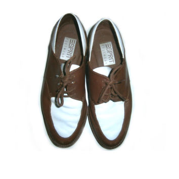 Vintage 90s Esprit Two Tone Oxfords Shoes Brown White Brogues Lace Up Laceup Saddle Shoes 7.5 8