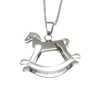 Silver Toned Rocking Horse Pendant Necklace