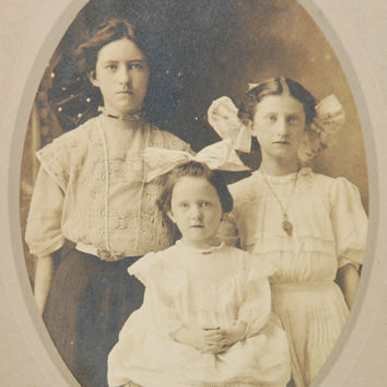 Antique Photograph Cabinet Card of Three Young Girls (c. 1880's) Vintage Photography, Repurpose, Art Project, Sepia, Antique Portrait