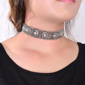 Boho Collar Choker Silver Necklace statement jewelry for womenFashion Vintage Ethnic style Bohemia Turquoise Beads neck