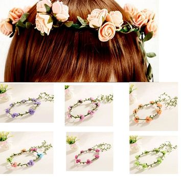 2016 Women Fashion foam flower wedding bride bridesmaid cane garland bohemian head band wreath hair accessories