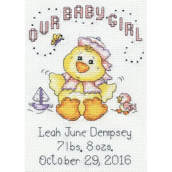 "Our Baby Girl Chick Birth Record Mini Counted Cross Stitch K 5""X7"" 14 Count"