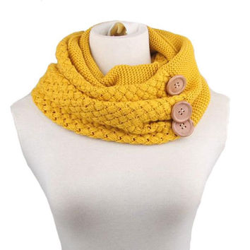 New Design Fashion Autumn Winter Scarf Women Warm Wool Blend Two Circle Cable Knit Cowl Neck Scarf Shawl cachecol Free Shipping