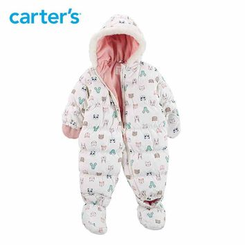Carters winter overalls baby girl clothes cute long hooded footies white duck down warm Down thick jacket snowsuit CL218H37