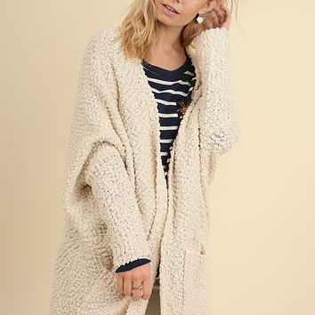 Women's Open Front Sweater with Pockets