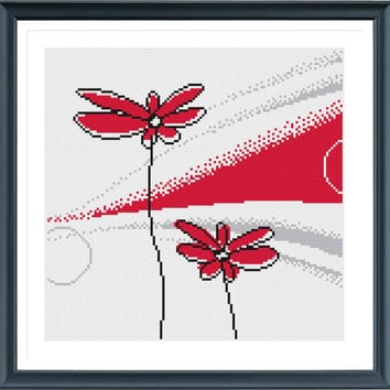 Cross Stitch Pattern, Flower H220 Cross Stitch, Modern Cross Stitch Pattern, Instant Download