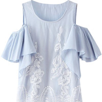 Shoulder Cut Out Lace Ruffled Sleeve Blouse