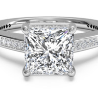 Diamond Micropavé Band Engagement Ring - in 18kt White Gold (0.20 CTW) with a 0.30 Carat, Princess Diamond | Ritani