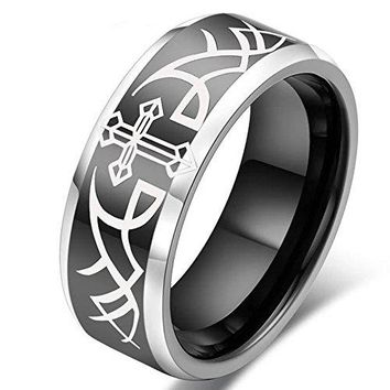 8mm Tungsten White Cross Plated Black Ring Wedding Engagement Angel Wings Personalized Band