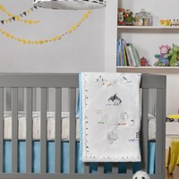 Infant babyletto 'Alpha' Crib Sheet, Crib Skirt, Changing Pad Cover, Play Blanket, Stroller Blanket & Wall Decals - Blue