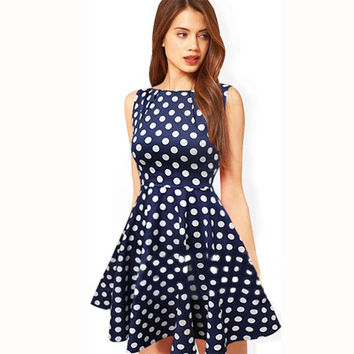 Women Fashion Polka Dots Print Sleeveless Mini Dress