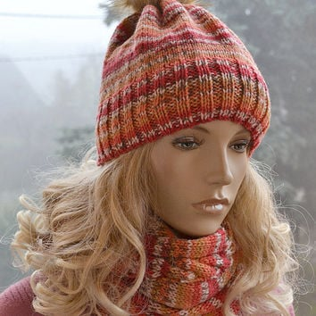 Set of knitted multicolor cap and loop scarf