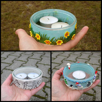 Upcykled glass jar stuff tea light holder polymer clay candle lantern  mason home decore gifts table lighting handmade led lantern