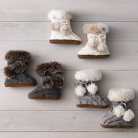 Cable Knit & Luxe Faux Fur Baby Booties