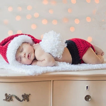 Newborn Baby Infants Crochet Knit Santa Claus Clothes Costume Photo Prop Outfits = 1958062020