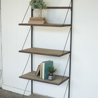 Metal & Wood Display Rack with Folding Shelves